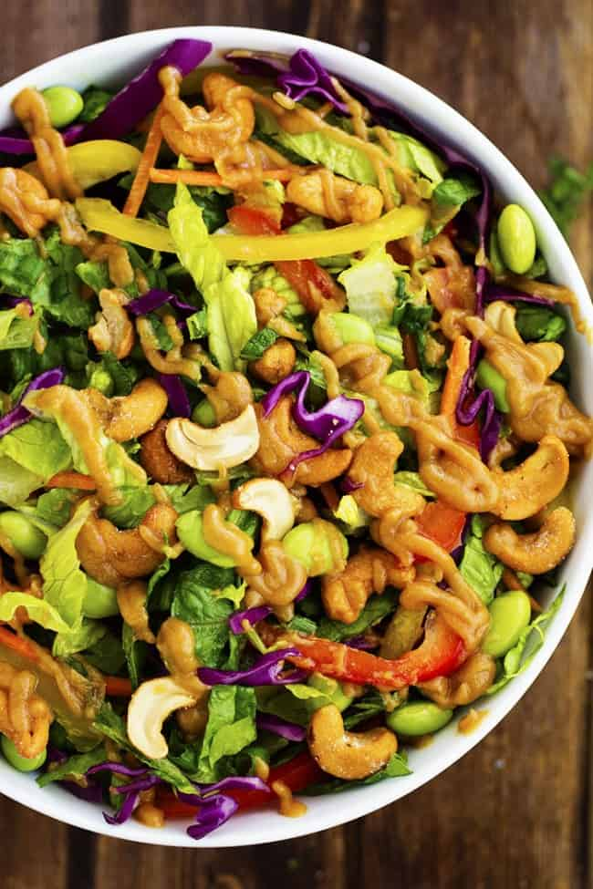 thai salad ready in a white serving dish.