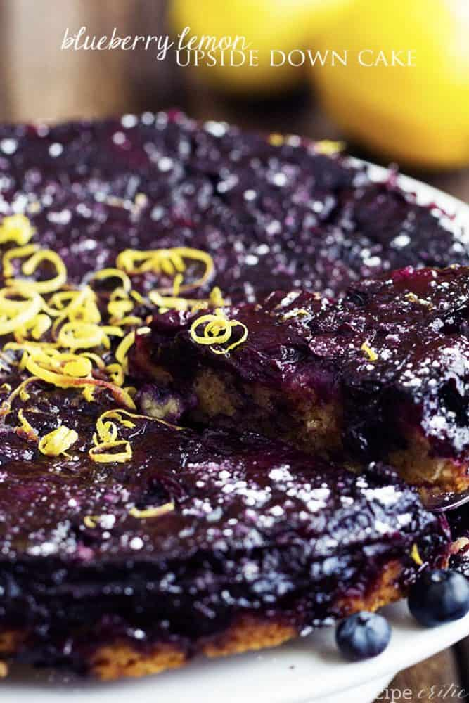 Blueberry lemon upside down cake in a white pan.