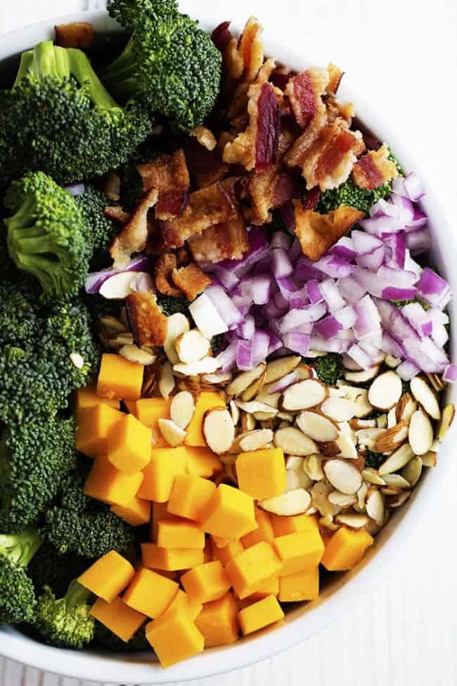 Broccoli salad ingredients.