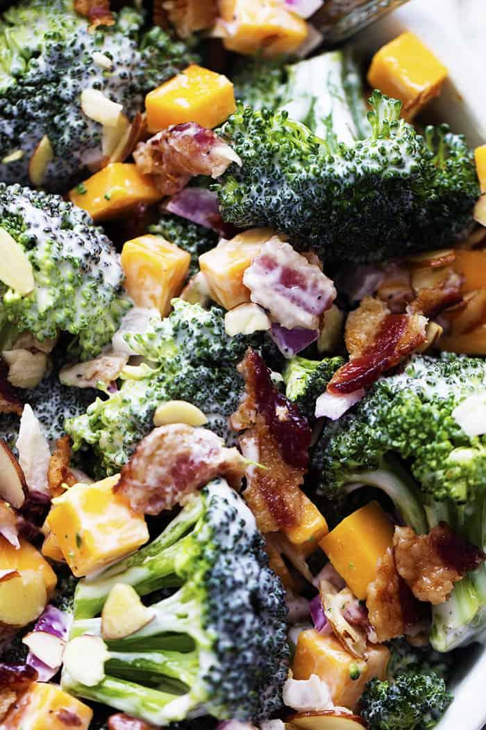 Creamy Broccoli Bacon and Cheddar Salad
