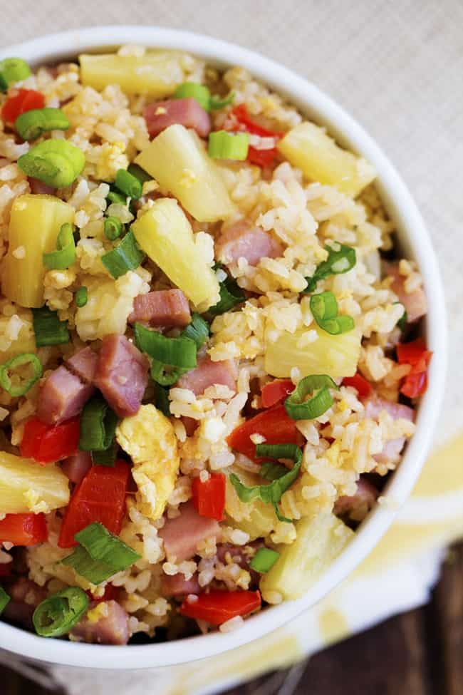 Hawaiian fried rice in a white bowl.