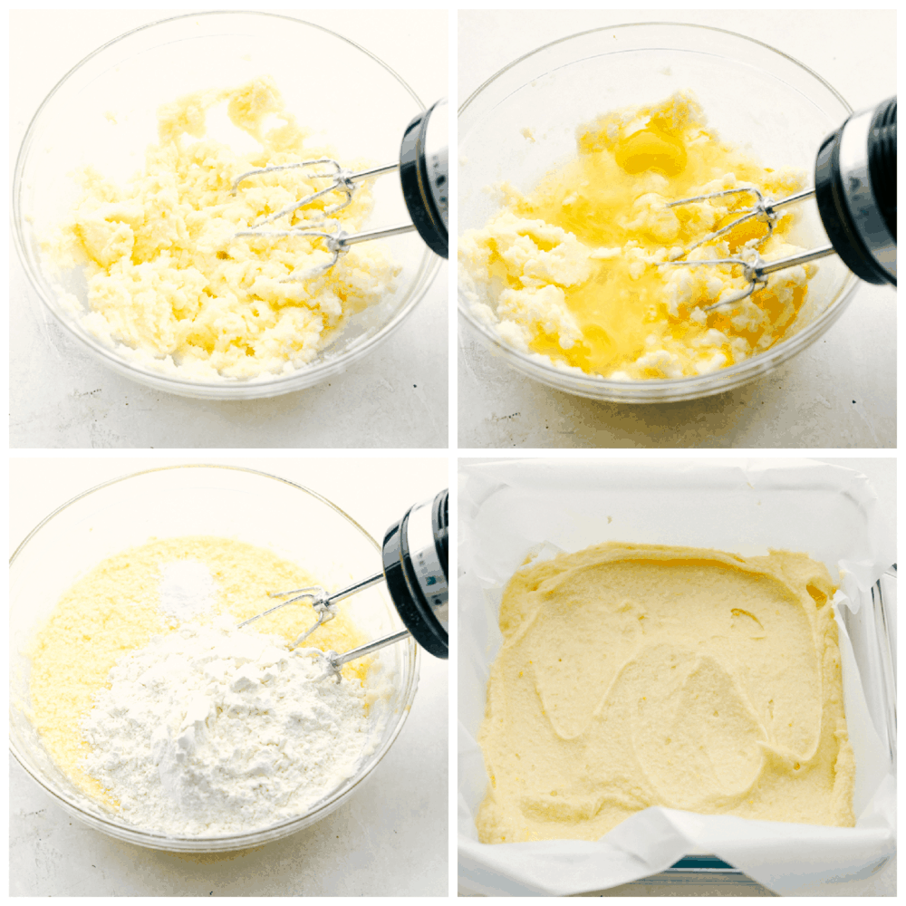 Mixing the ingredients and spreading it in the pan for lemon brownies.