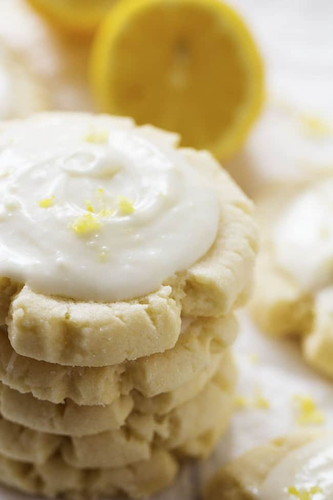 lemon sugar cookies in a stack.