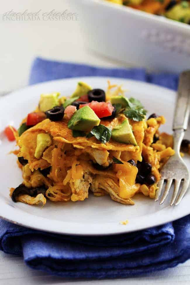 Loaded Stacked Chicken Enchilada Casserole | The Recipe Critic
