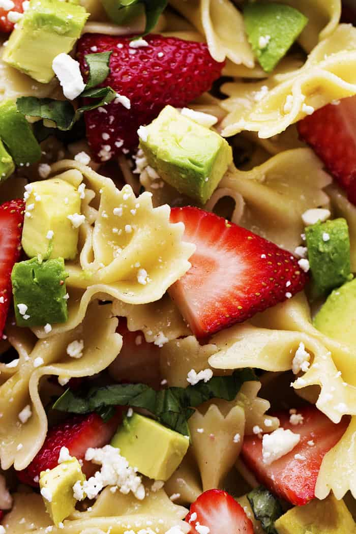 strawberry avocado salad close up.
