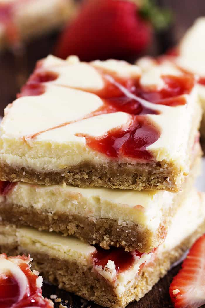 strawberry swirl cheesecake bar stack.