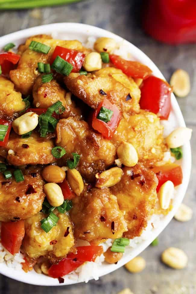 Everyone who comes over for dinner begs for us to make this awesome Baked Kung Pao Chicken. Holy crispy, saucy chicken that everyone loves to devour!