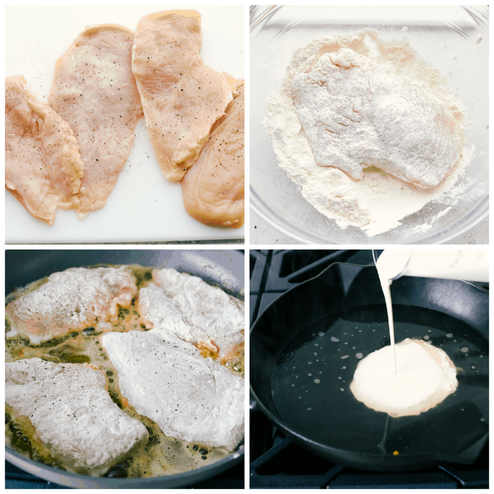 Chicken breasts seasoned, breaded and cooked, and the creamy sauce being made.
