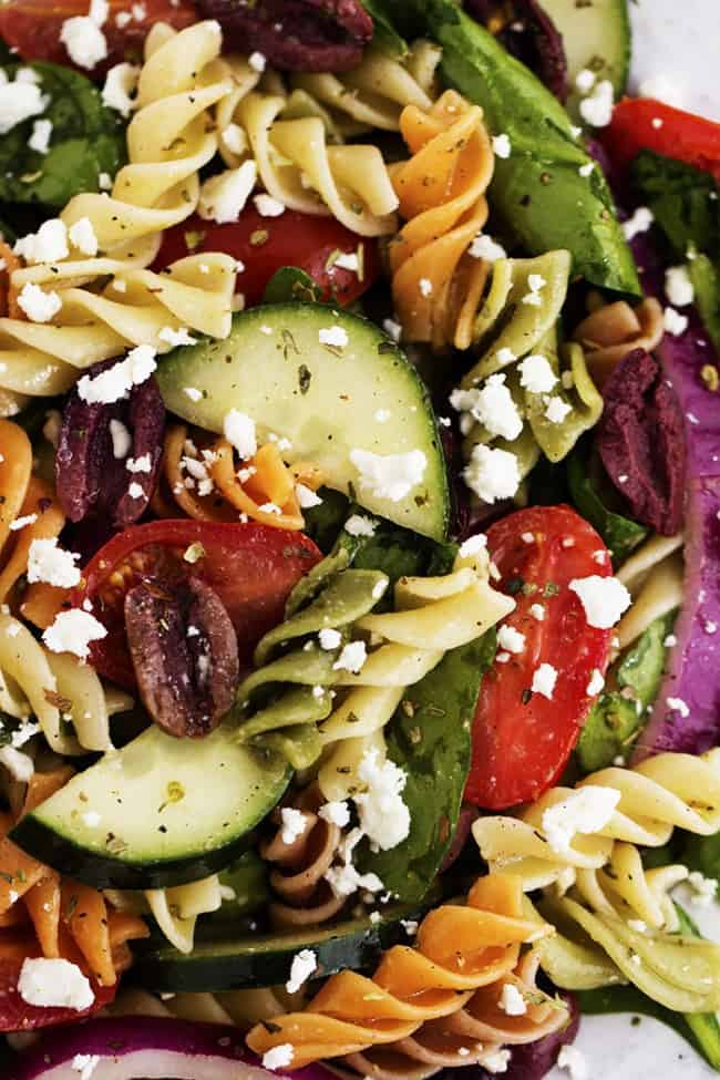 greek pasta salad close up.