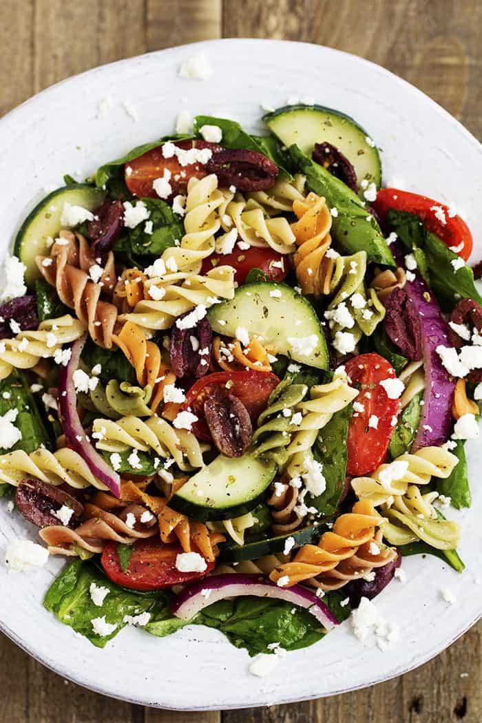 Greek Spinach Pasta Salad