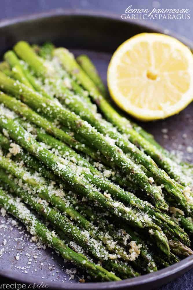 lemon parmesan garlic asparagus in a skillet