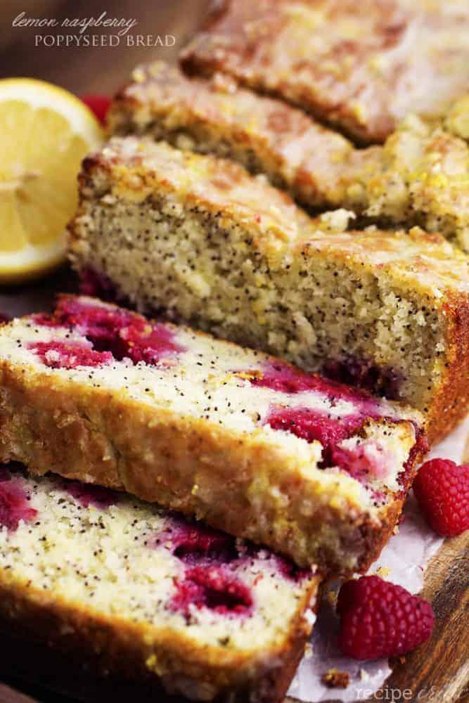 lemon raspberry poppyseed bread loaf sliced.