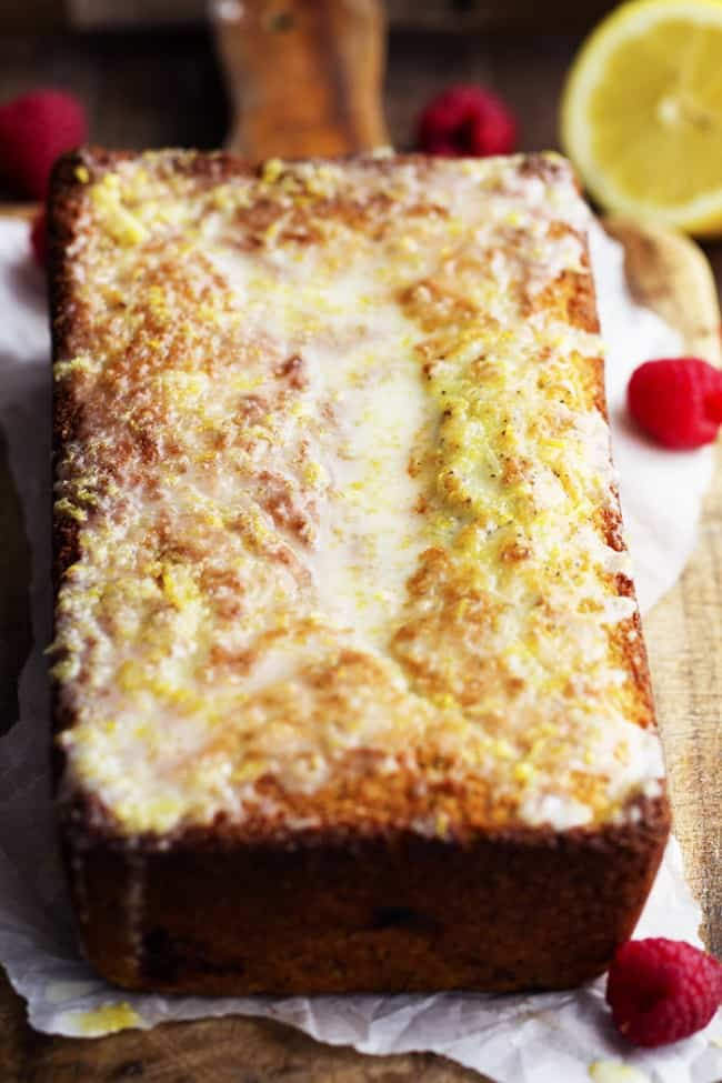 lemon raspberry bread loaf.