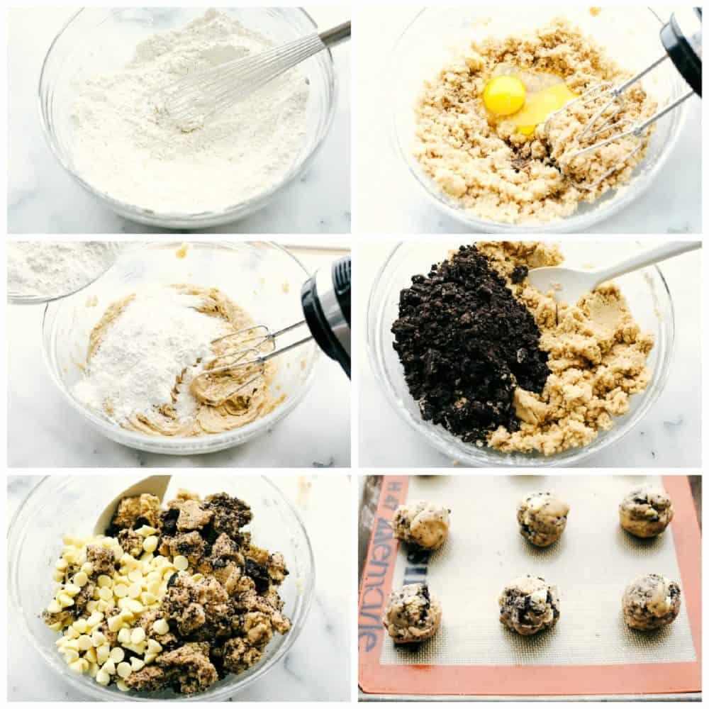 The processor making white chocolate oreo cookies.