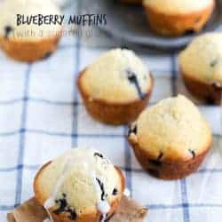 Blueberry Muffins on a white and blue cloth.
