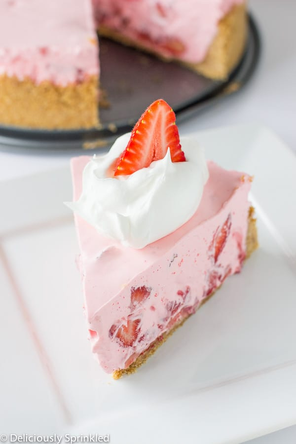 No Bake Strawberry and Cream Pie on a white plate.