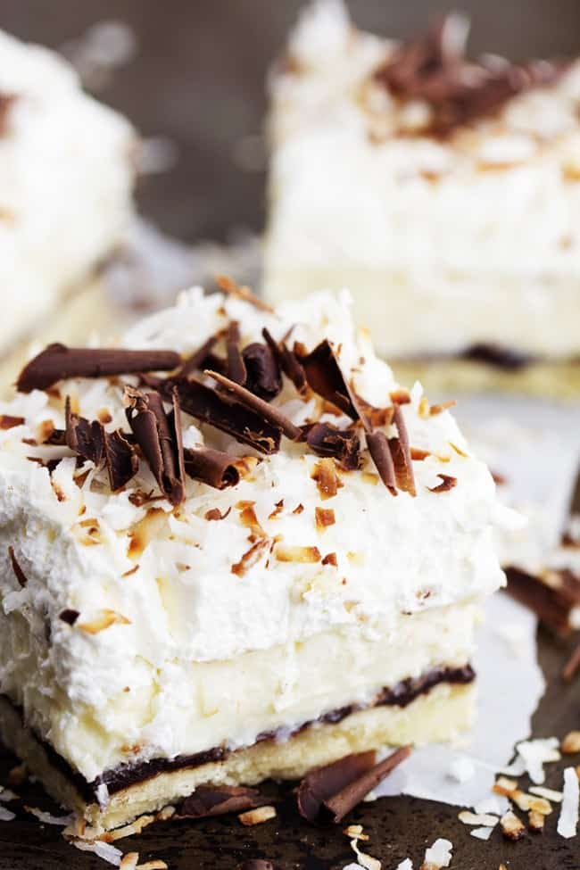 chocolate coconut cream pie bar side angle to show layers
