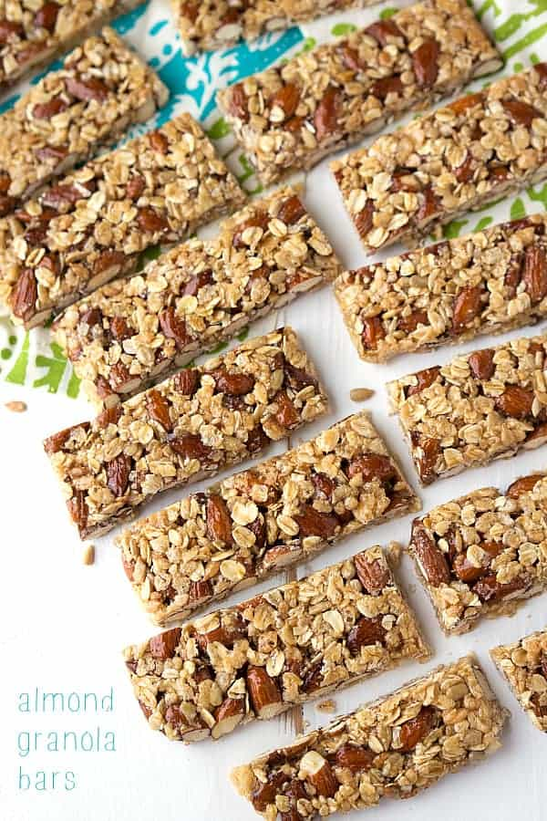 Easy almond granola bars laid in two rows