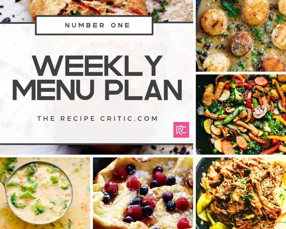 A collage with the first weekly menu plan recipe photos that include broccoli cheese soup, Stromboli, scallops, vegetable stir fry and Mississippi slow cooker recipe.