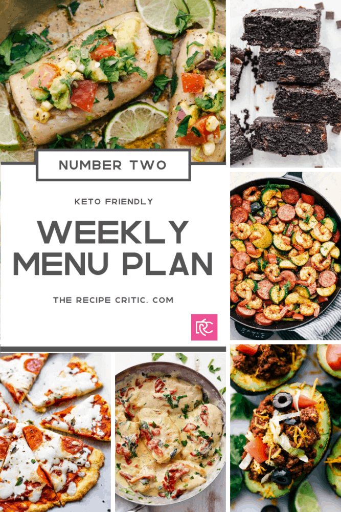 A round up collage of all the weekly menu plan recipes from mahi mahi, brownies, cajun skillet, taco in an avocado, tuscan chicken and a pizza.