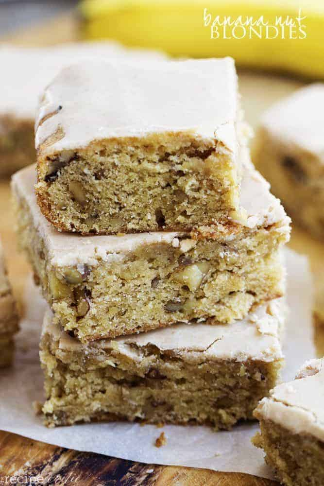 banana nut blondies in a stack.