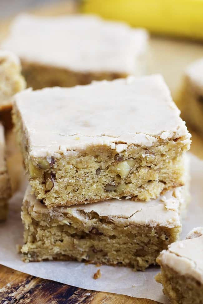 banana nut blondies in a stack of 2.