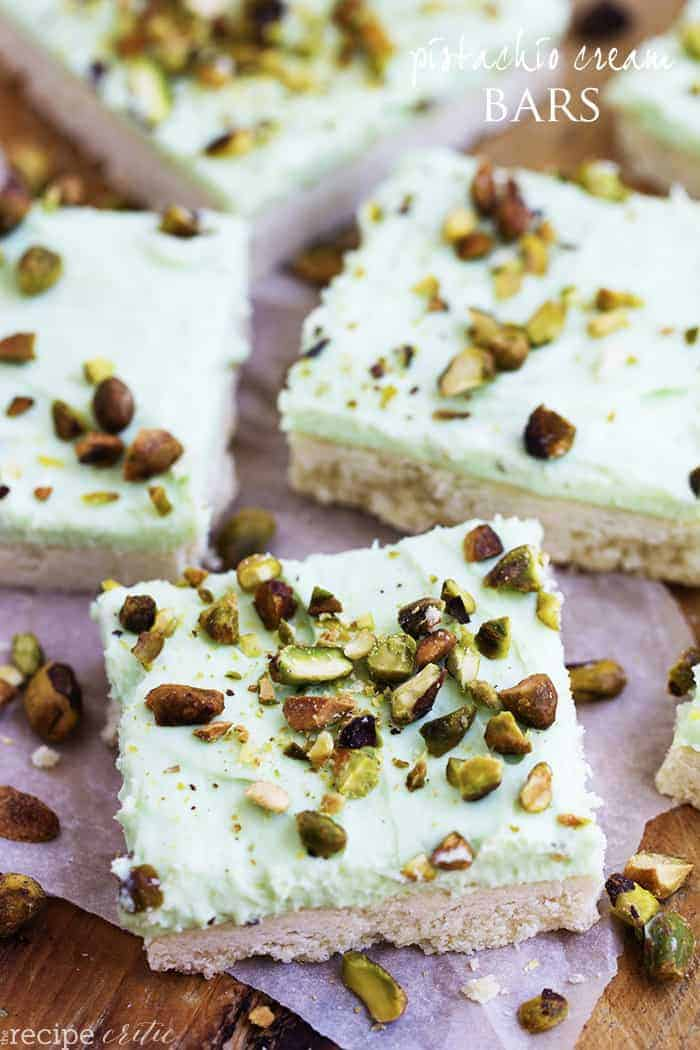 and a delicious pistachio dessert on top of a buttery shortbread crust ...