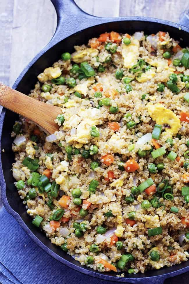 quinoa fried rice in a skillet