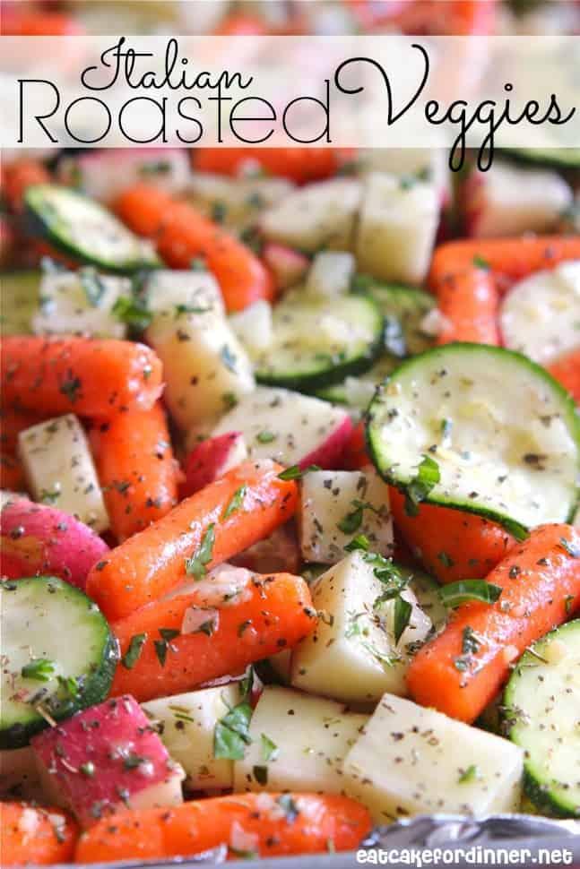 Close up of Italian Roasted Veggies.