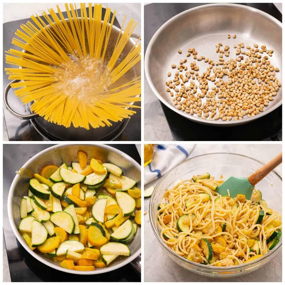Steps to make summer squash lemon spaghetti.