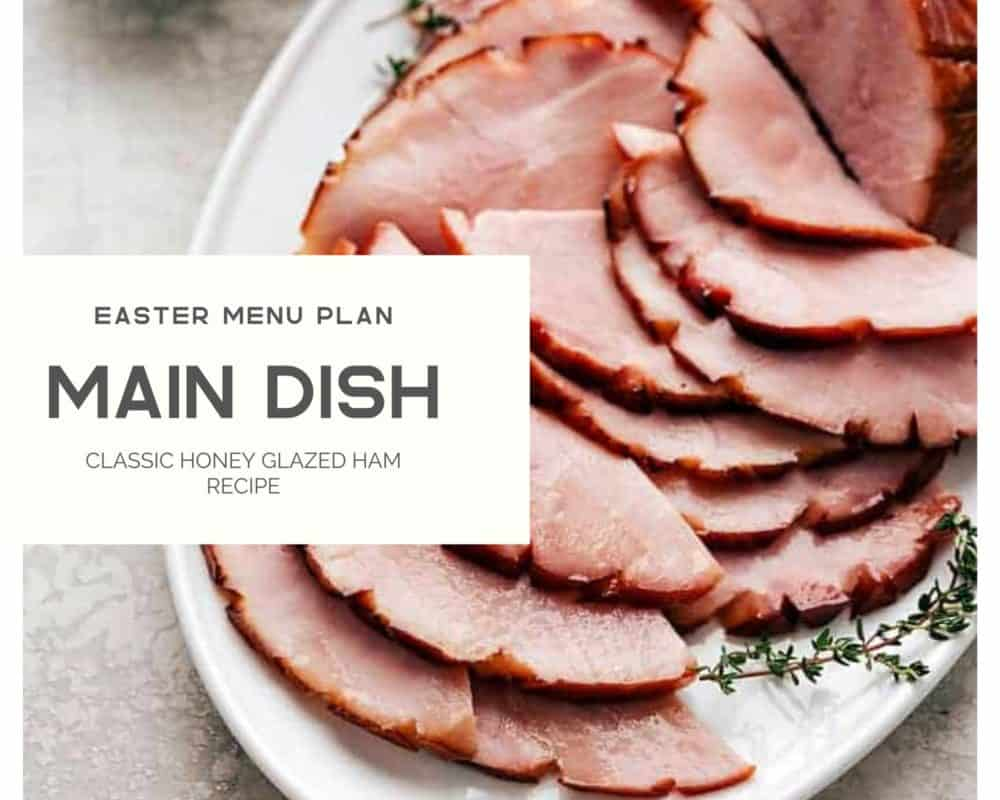 Classic honey glazed ham recipe with the easter menu plan photo.