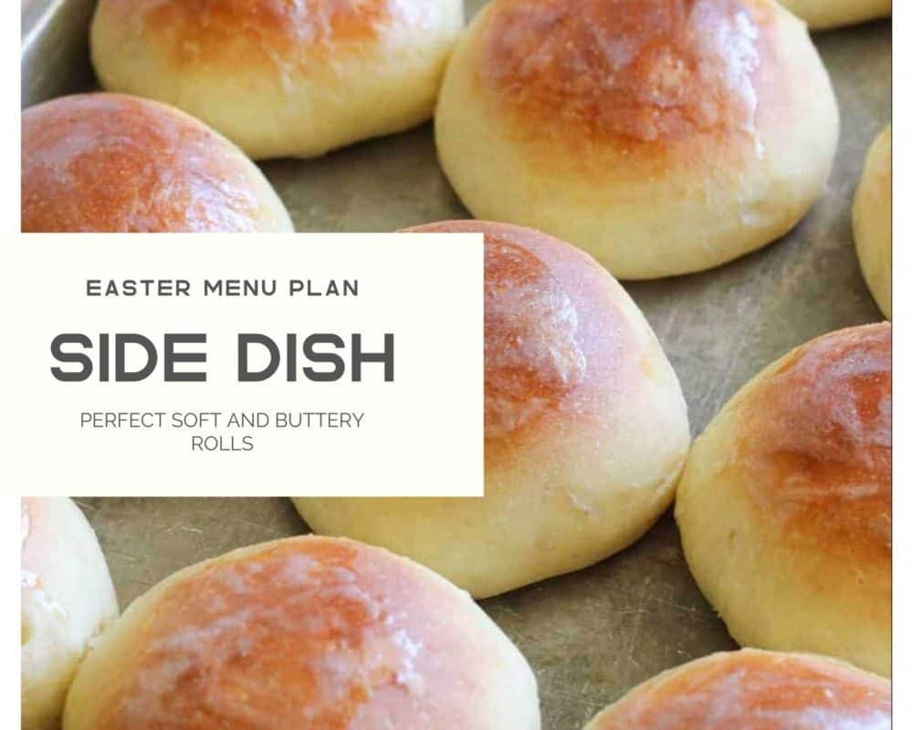Bread rolls photo with easter menu plan.