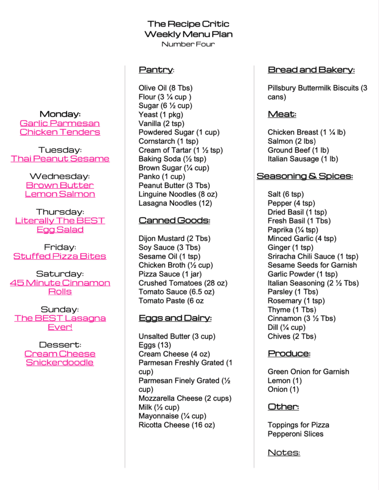 Weekly menu plan grocery list