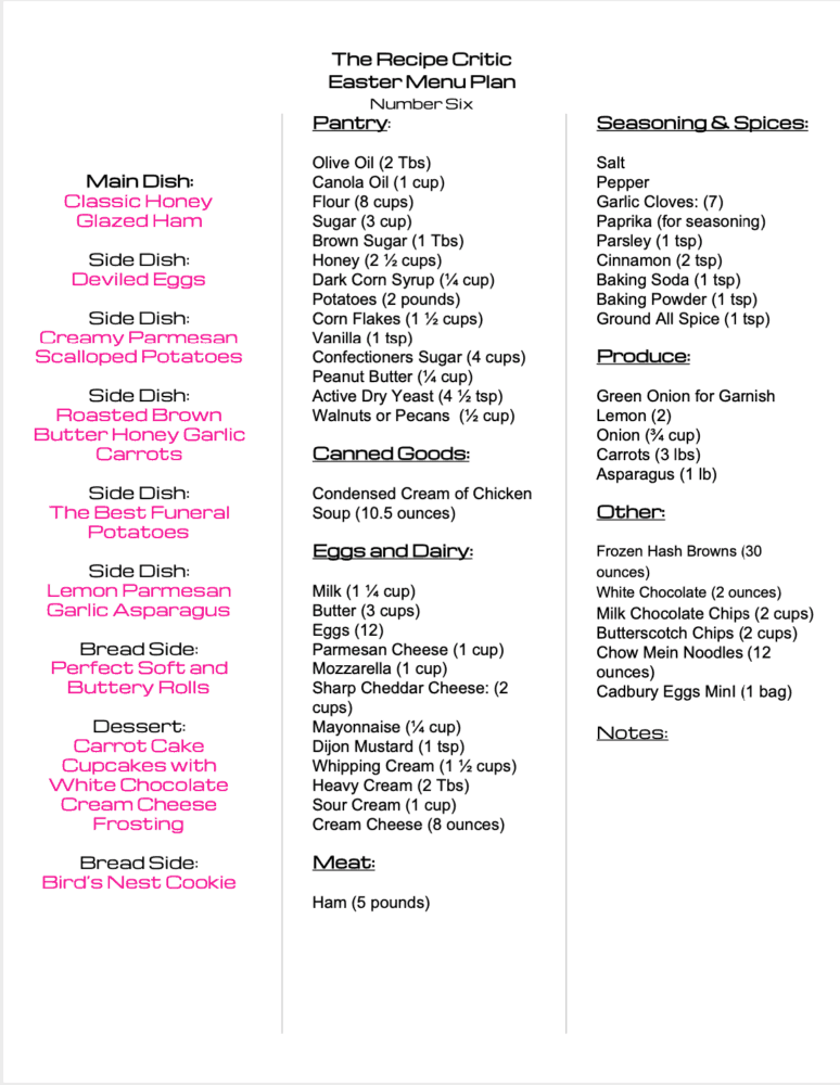 Easter weekly menu plan printable