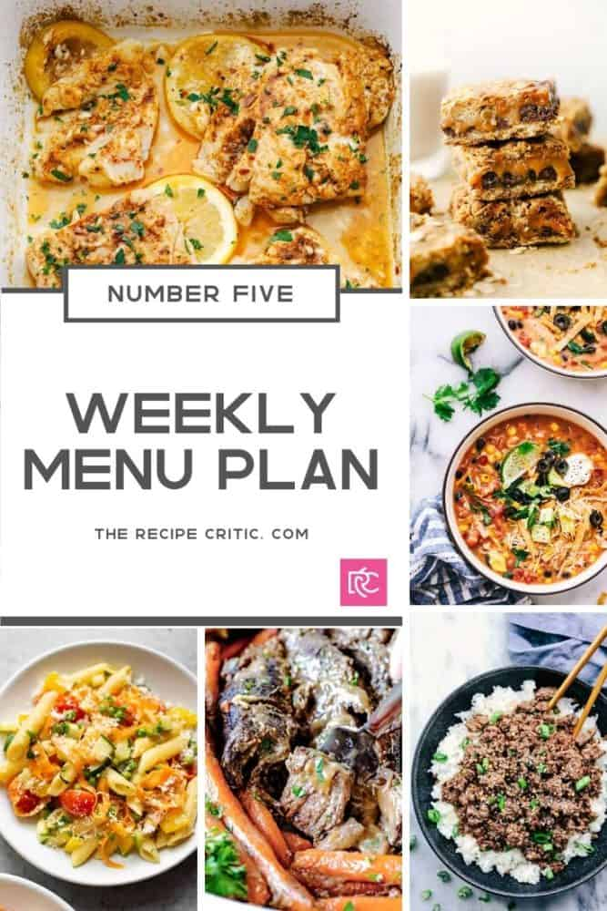 Weekly menu plan photos in a collage with all the recipes.