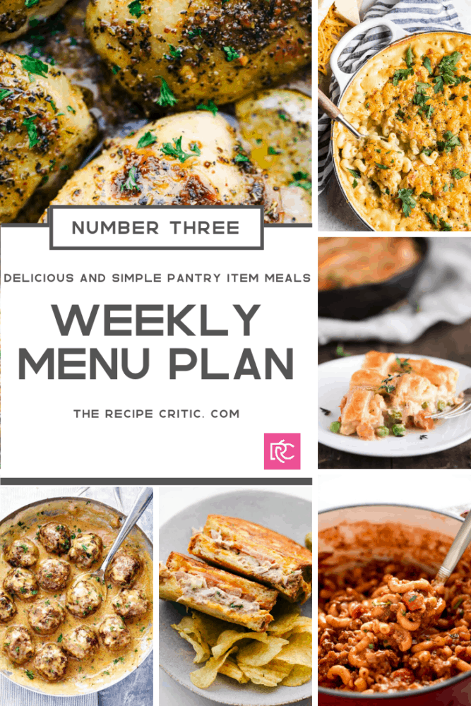 Weekly menu plan collage of all the recipes for this week.