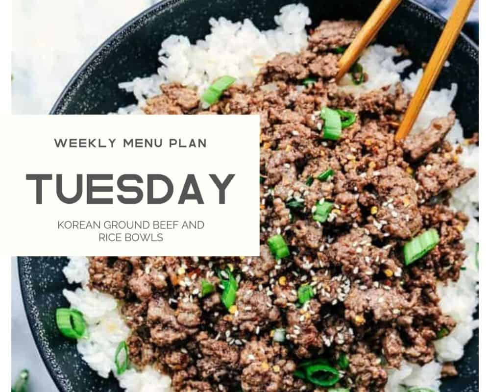 Korean ground beef weekly menu plan photo