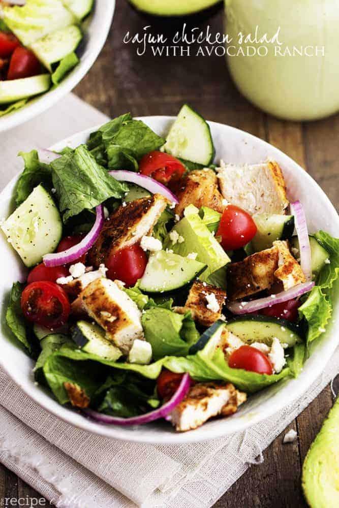 cajun chicken salad in a white bowl.