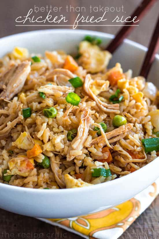 Better than takeout chicken fried rice in a white bowl.