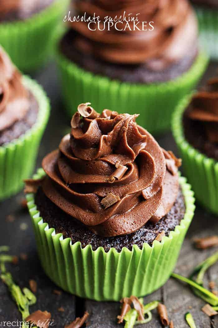 Chocolate Zucchini Cupcakes with Chocolate Cream Cheese Frosting