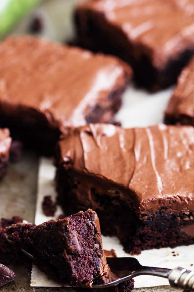 A bite of double chocolate zucchini brownies on a fork.