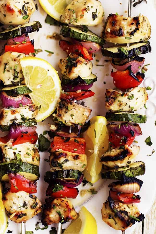 lemon herb garlic chicken skewers areal view.