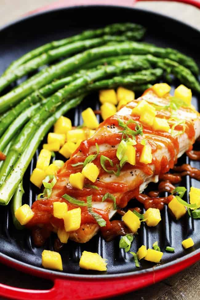mango chipotle barbecue salmon with asparagus.