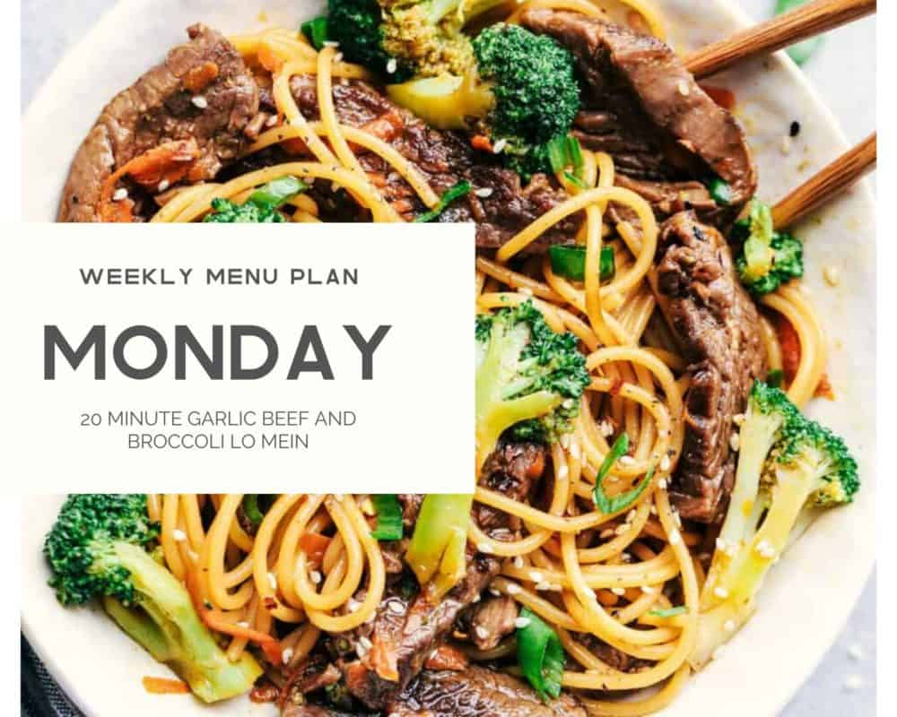 20 Minute garlic beef and broccoli lo Mein dish