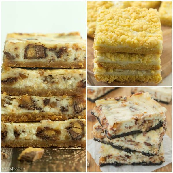 Collage of Reese's Cheesecake Bars, Easy Lemon Cream Cheese Bars, Snickers Cheesecake Bars