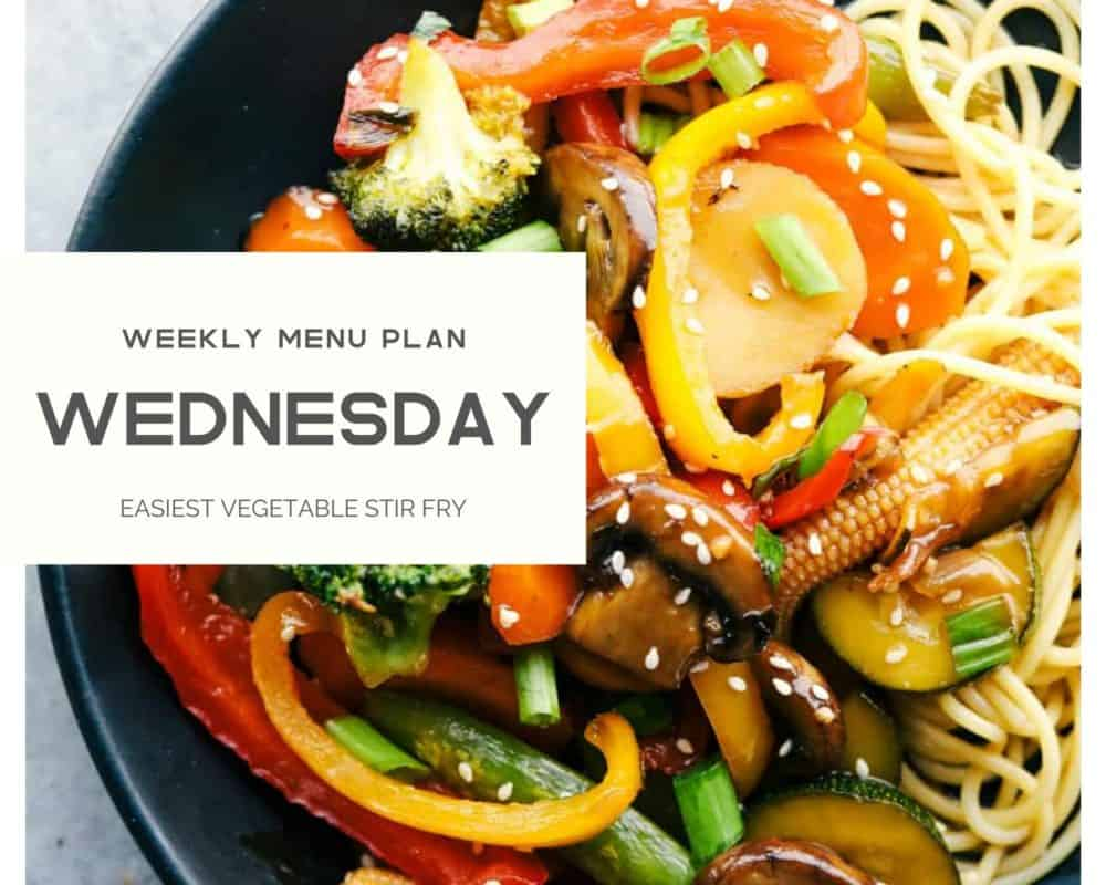 Vegetable stir fry in a photo with Wednesday weekly menu plan banner over top.