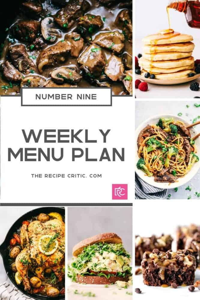 Weekly menu plan number 9 collage of photos