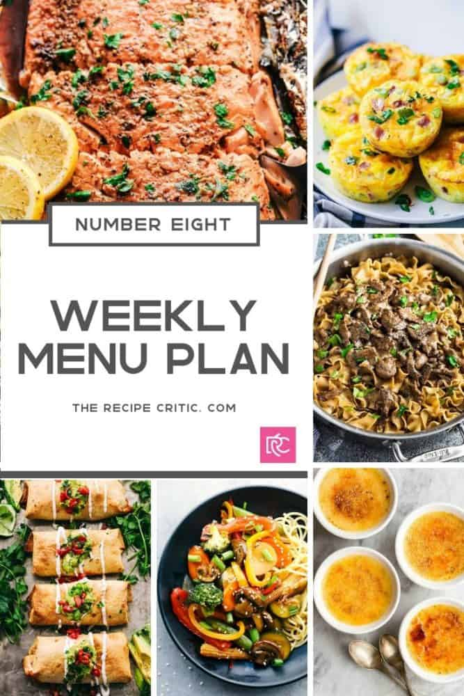 The weekly menu plan collage of all photos