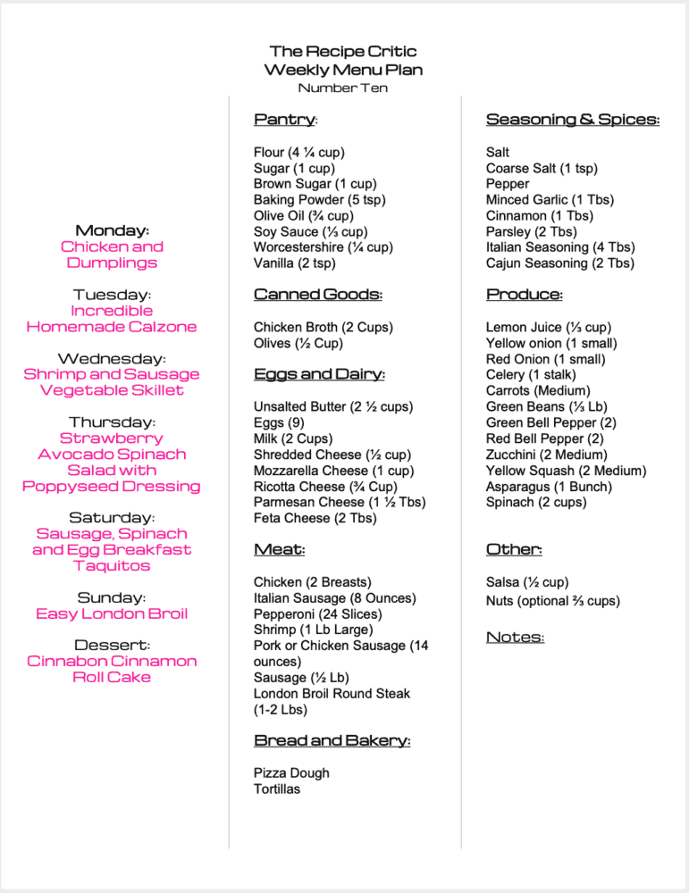 Weekly Menu Plan grocery list that you can print.