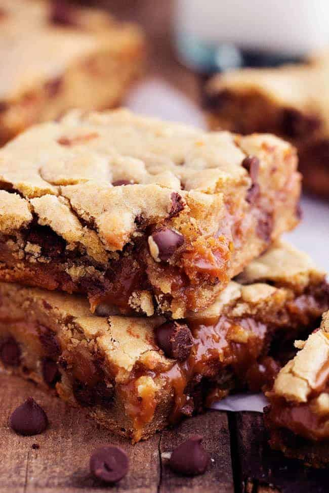 chocolate chip cookie bars with an ooey gooey peanut butter caramel ...